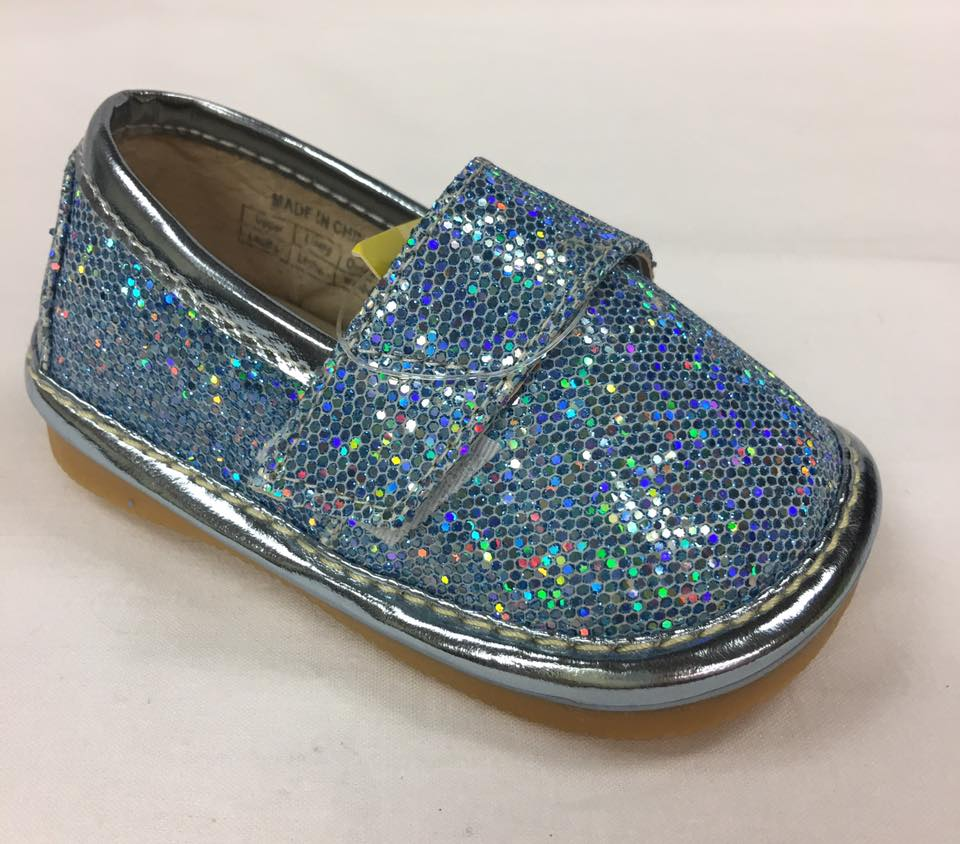 Size 1 only! Discontinued Leather Toddler Girl's Turquoise Sparkle Flat Squeaky Shoes