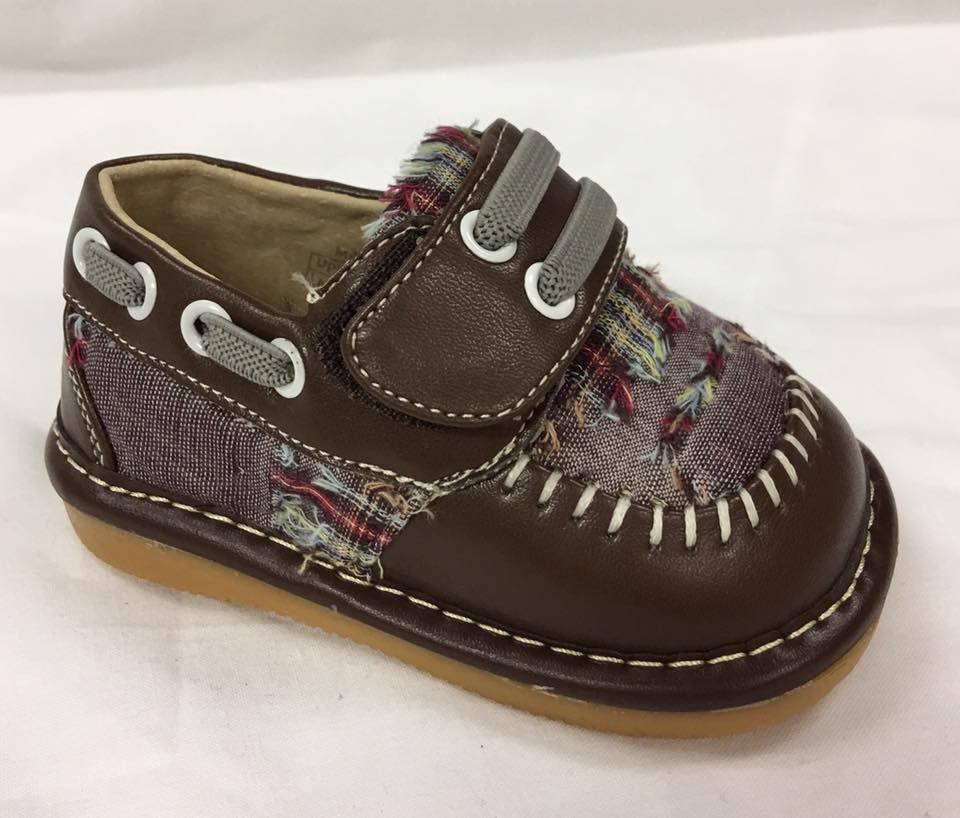 Toddler Boy's  Leather Brown Plaid Style Squeaky Shoes