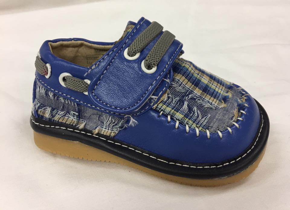 Discontinued Color Size 1,2 Only Toddler Boy's  Leather Blue Plaid Style Squeaky Shoes