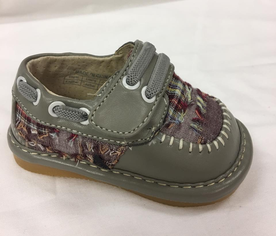 Discontinued Toddler Boy's  Leather Grey Plaid Style Squeaky Shoes