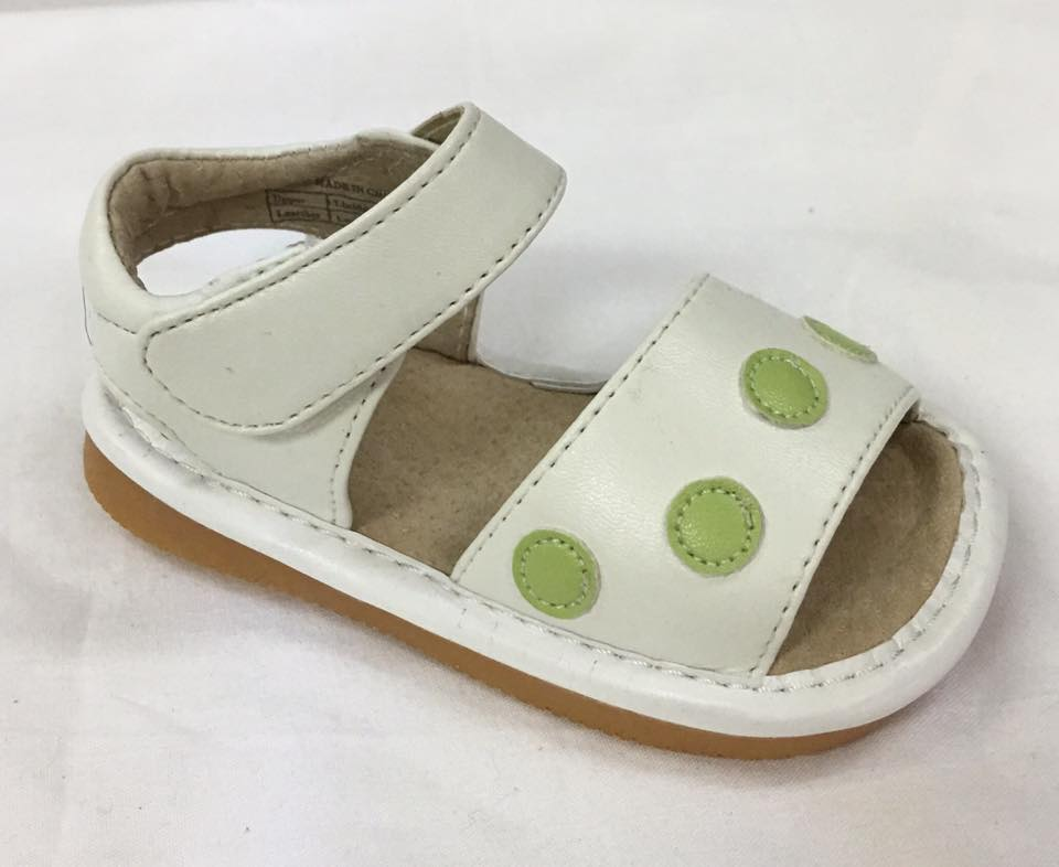 Discontinued!  Leather Toddler Girl's White with Lime Green Dots  Squeaky Sandals