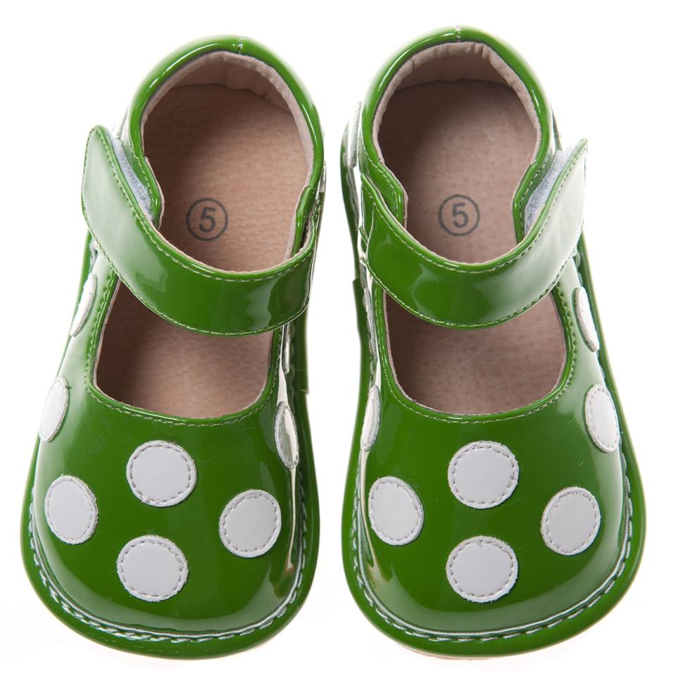 Discontinued Leather Toddler Girl's Patent Green with White Dots Squeaky Shoes Size 1,2 Only