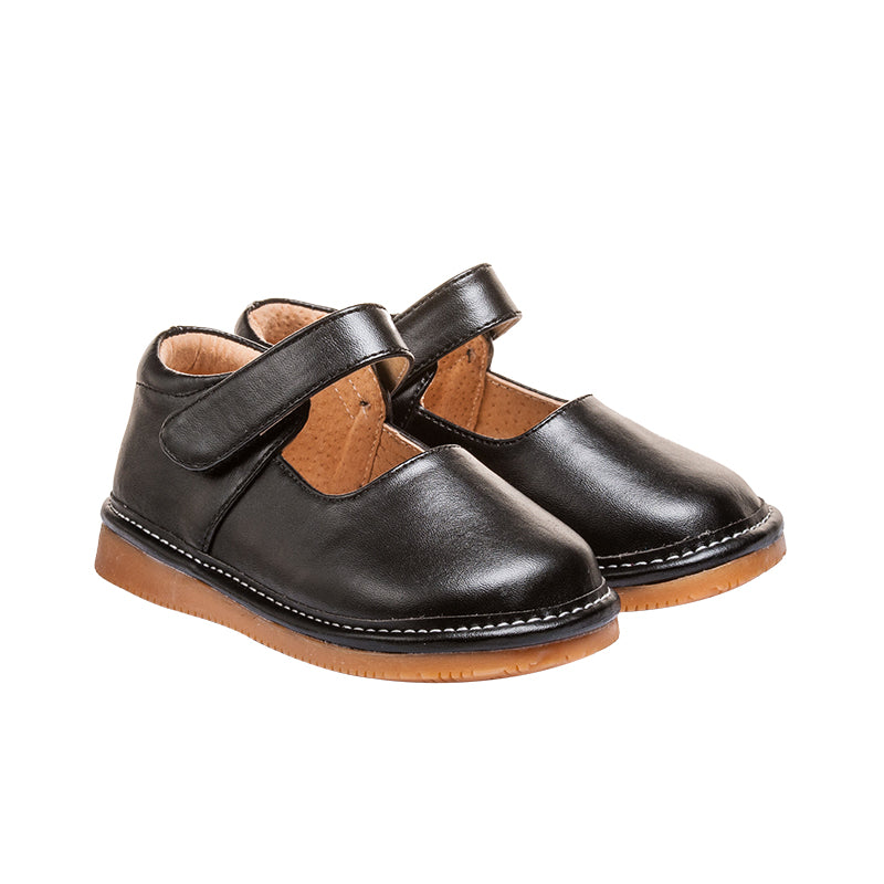 Leather Toddler Girl's Solid Black Mary Jane Squeaky Shoes