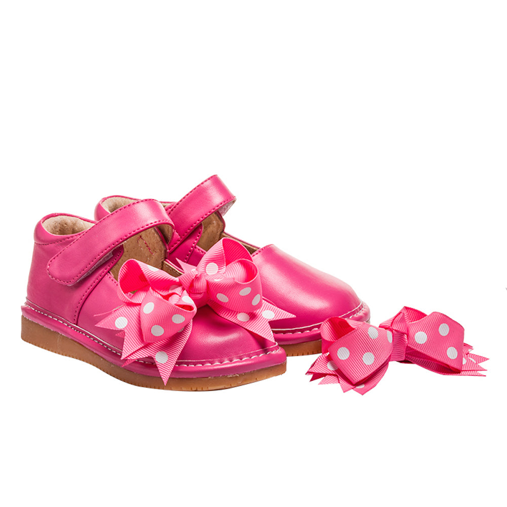 Discontinued Toddler Girl/'s Leather Squeaky Shoes Hot Pink with Lime Green Dots
