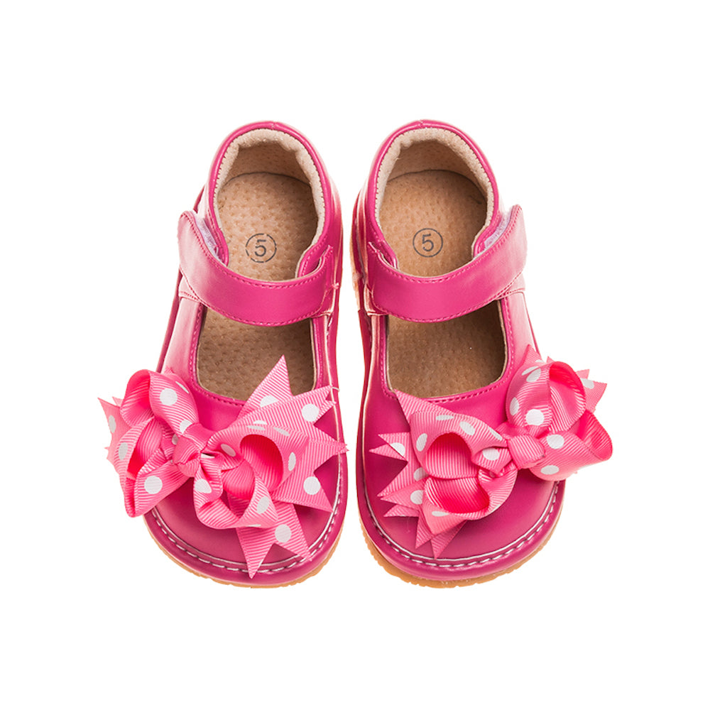 Leather Toddler Girl's Mary Jane Hot Pink Clip on Bow Squeaky Shoes