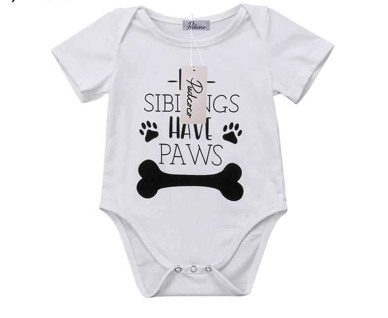S-1466 Baby's  My Siblings Have Paws Romper Size 3M-18M