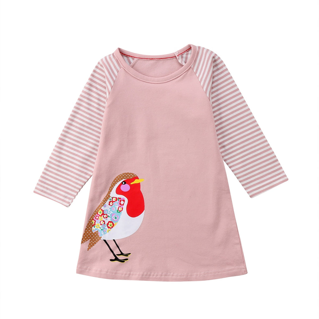 S-339 Girl's  Long Sleeve Top with bird Size 12M-7T