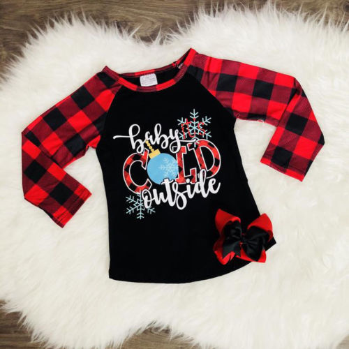 S-1954 Christmas Long Sleeve Shirt Size 2T-6T
