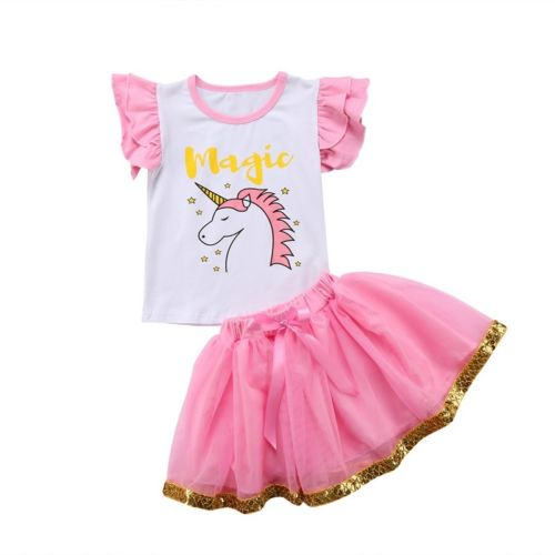 S-1847 Girl's  Unicorn 2 PCS Set Size 3T-6T