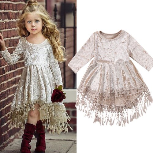 S-349 Girl's Dress Tassel Velvet Size 1-5T