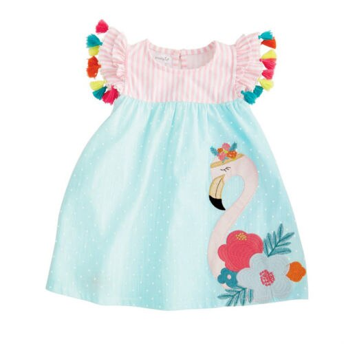 S-351 Girl's Flamingo Dress  Size 2T-6T