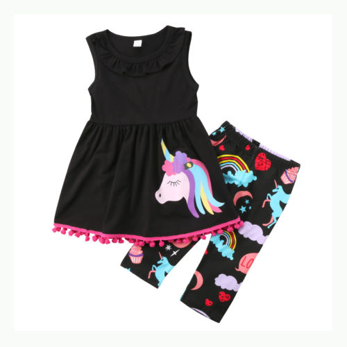 S-1846 Girl's Unicorn 2 PCS Set Size 3T-7T