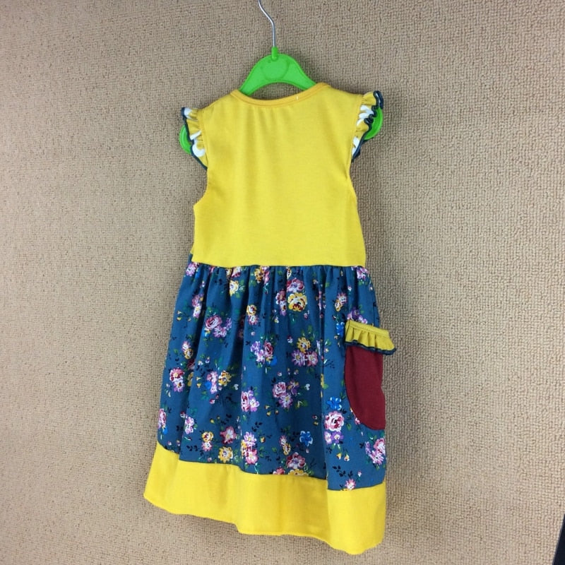 W-552 Girl's Mustard yellow dress Size 7T, 8T Only READY TO SHIP FROM OHIO