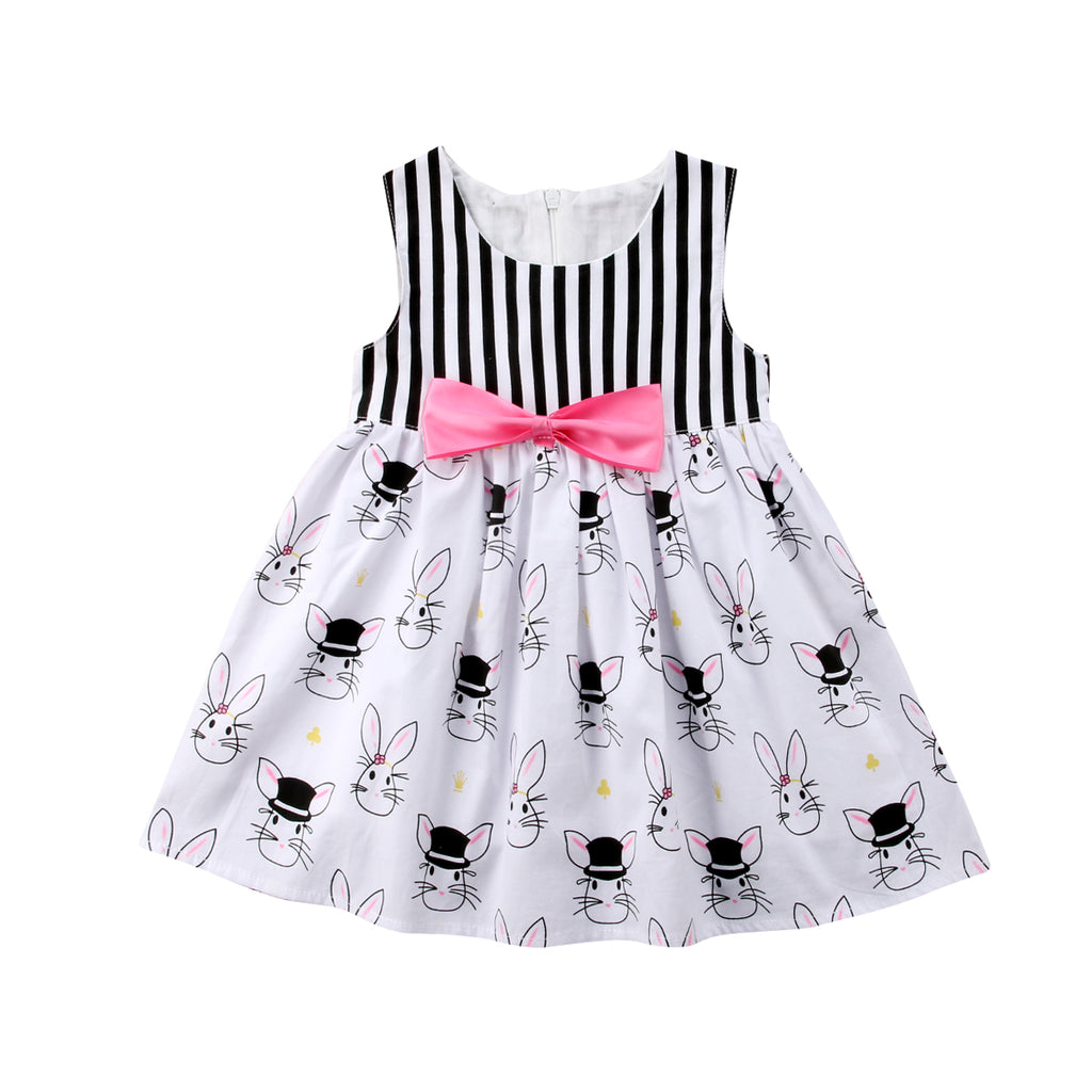 S-727 Girl's  Sleeveless Rabbit Print Dress Size 2T-5T
