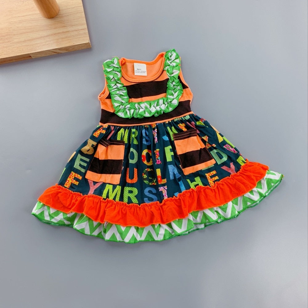 W-1194 Girl's Dress with Alphabet Prints Size 3M-18M READY TO SHIP FROM OHIO