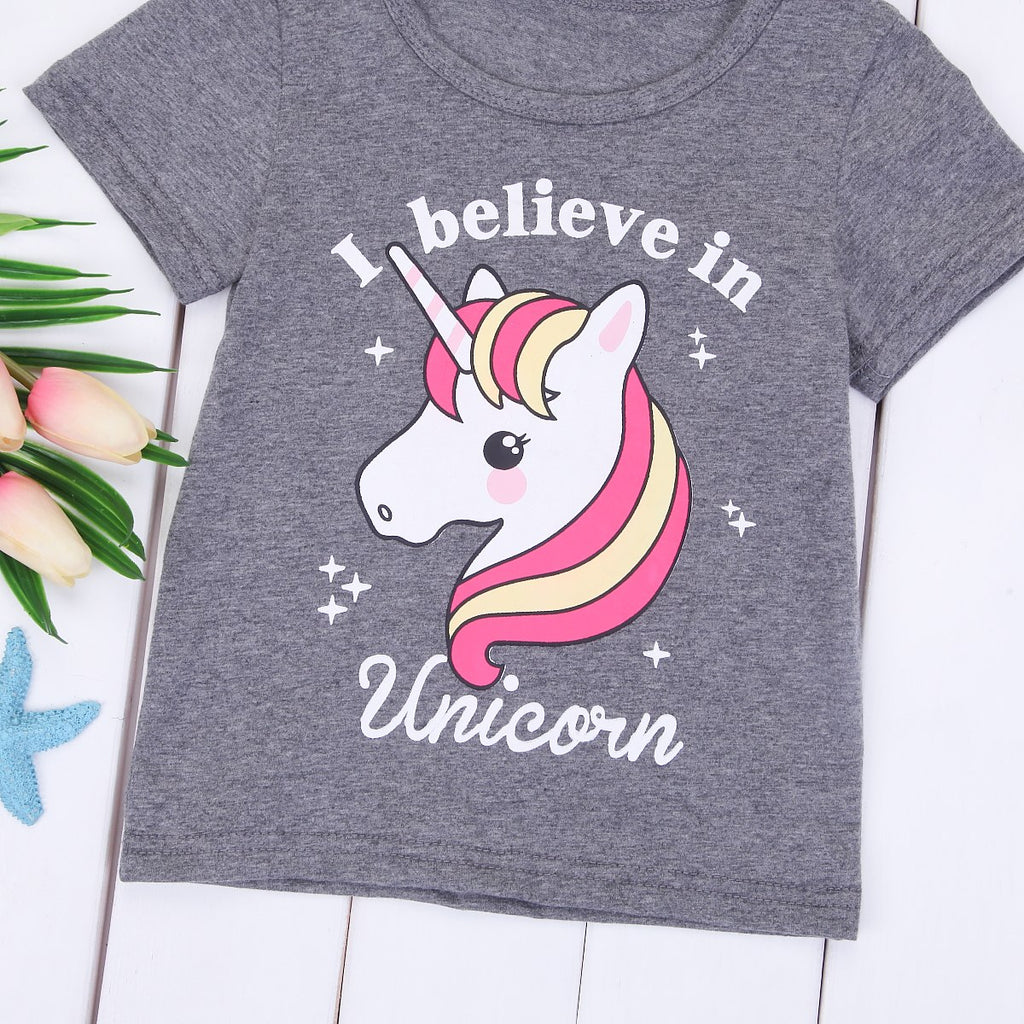 S-506 Girl's Unicorn T-shirt  Size 2T-6Y