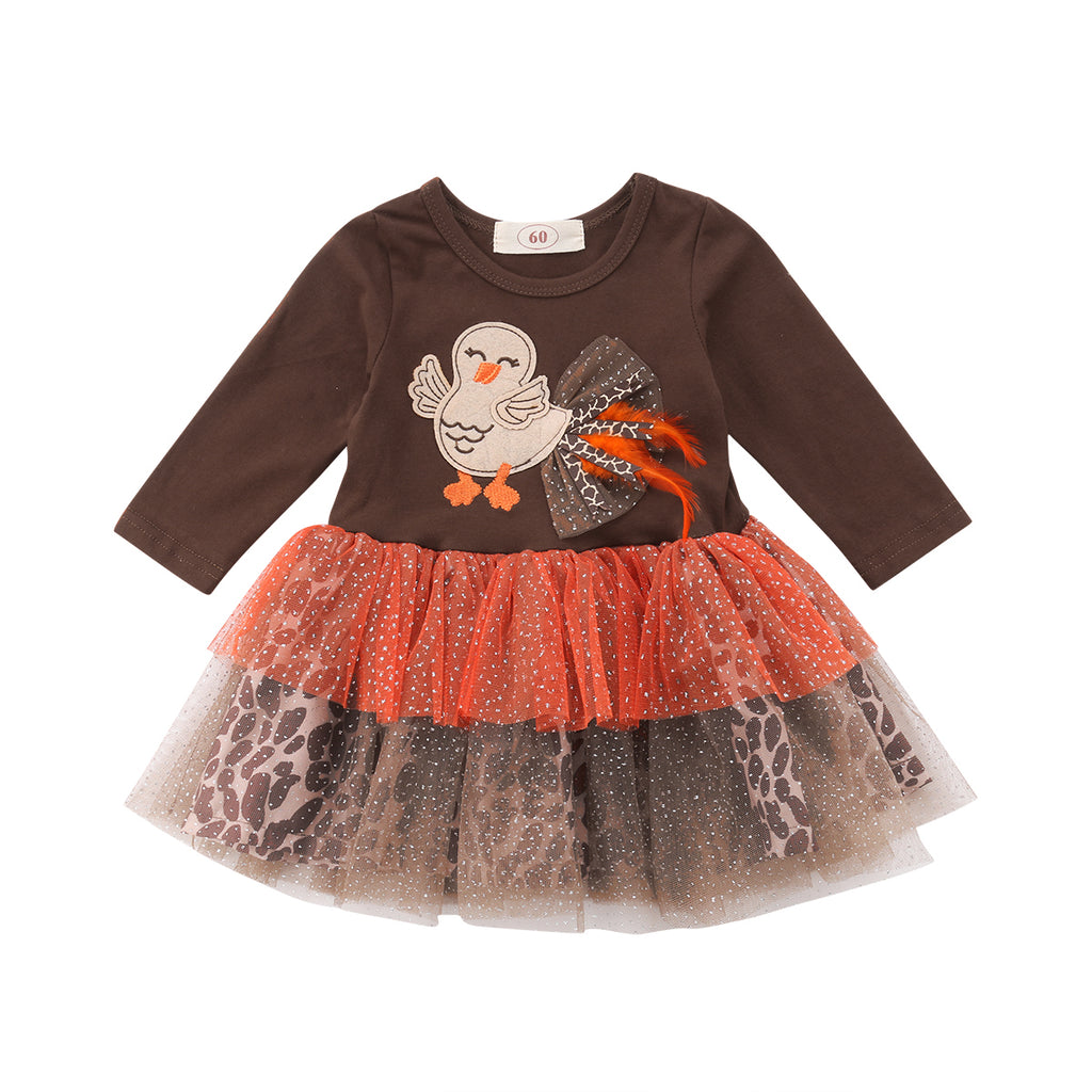 S-456 Thanksgiving Girl's Lace Tutu Dress  Size 12M-4T