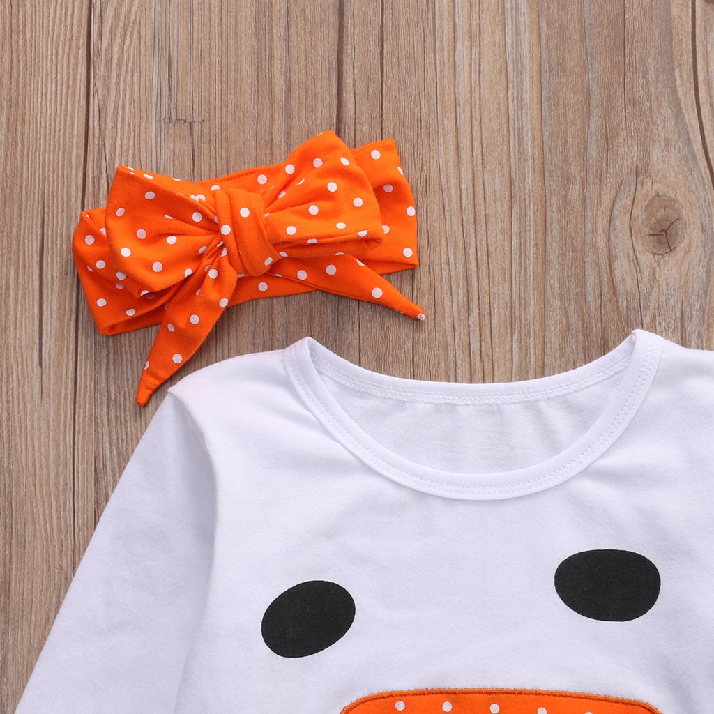 D-846 Girl's Christmas Snowman Ruffle Polka Dot Outfit with Headband Size 2T-8
