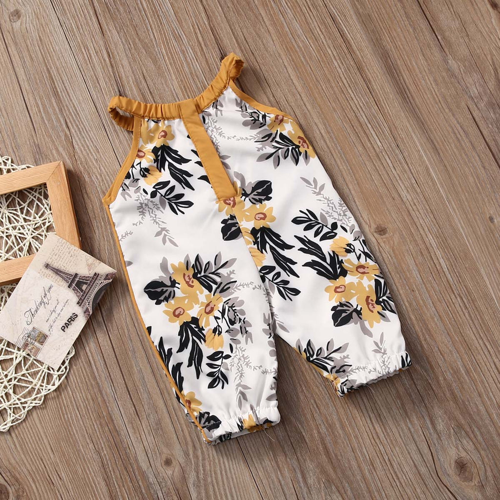 S-1730 Girl's Floral Print Romper Size 3M-3T
