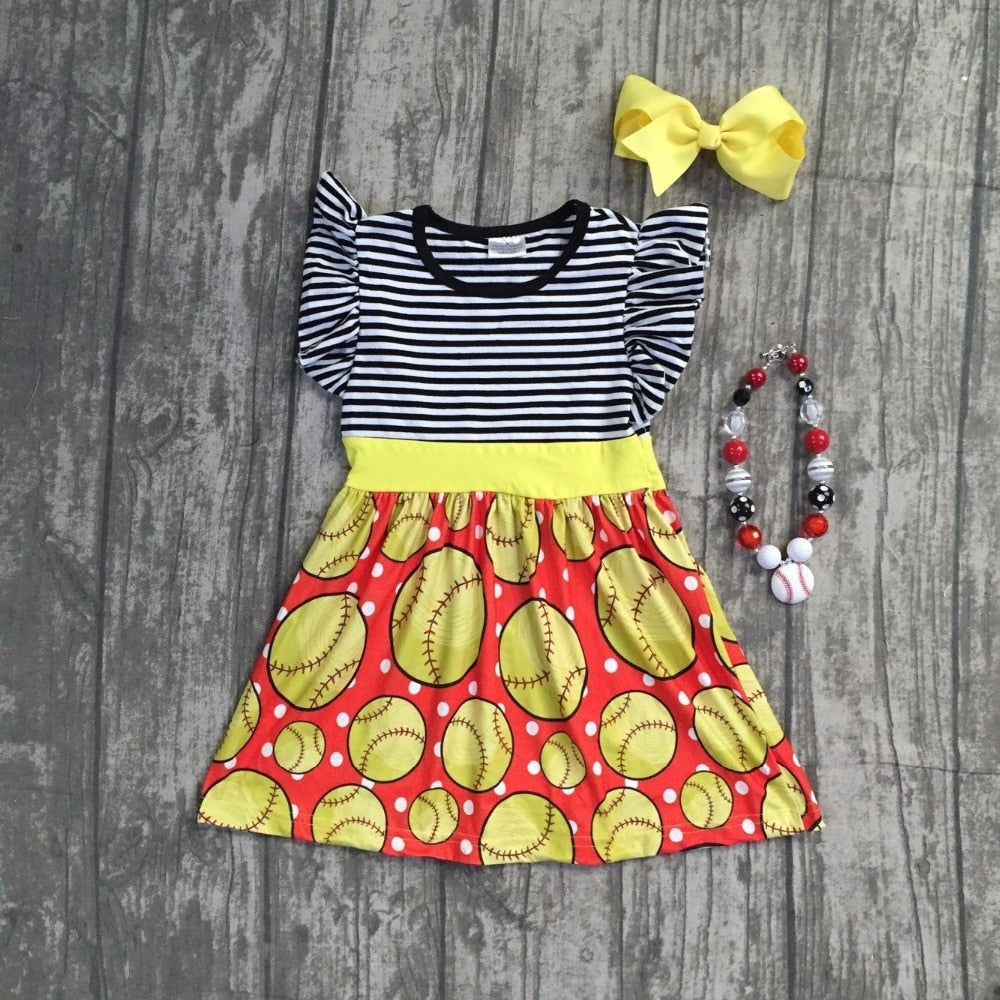 T-1589 Girl's Softball Dress with matching accessories Size 12M-8 READY TO SHIP FROM OHIO
