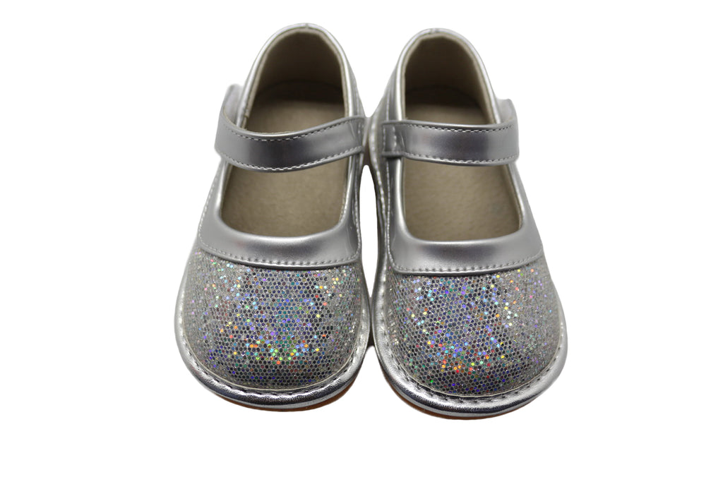 LP401S NEW! Silver Sparkle Leather Toddler Girl's Mary Jane Squeaky Shoes Size 3-10