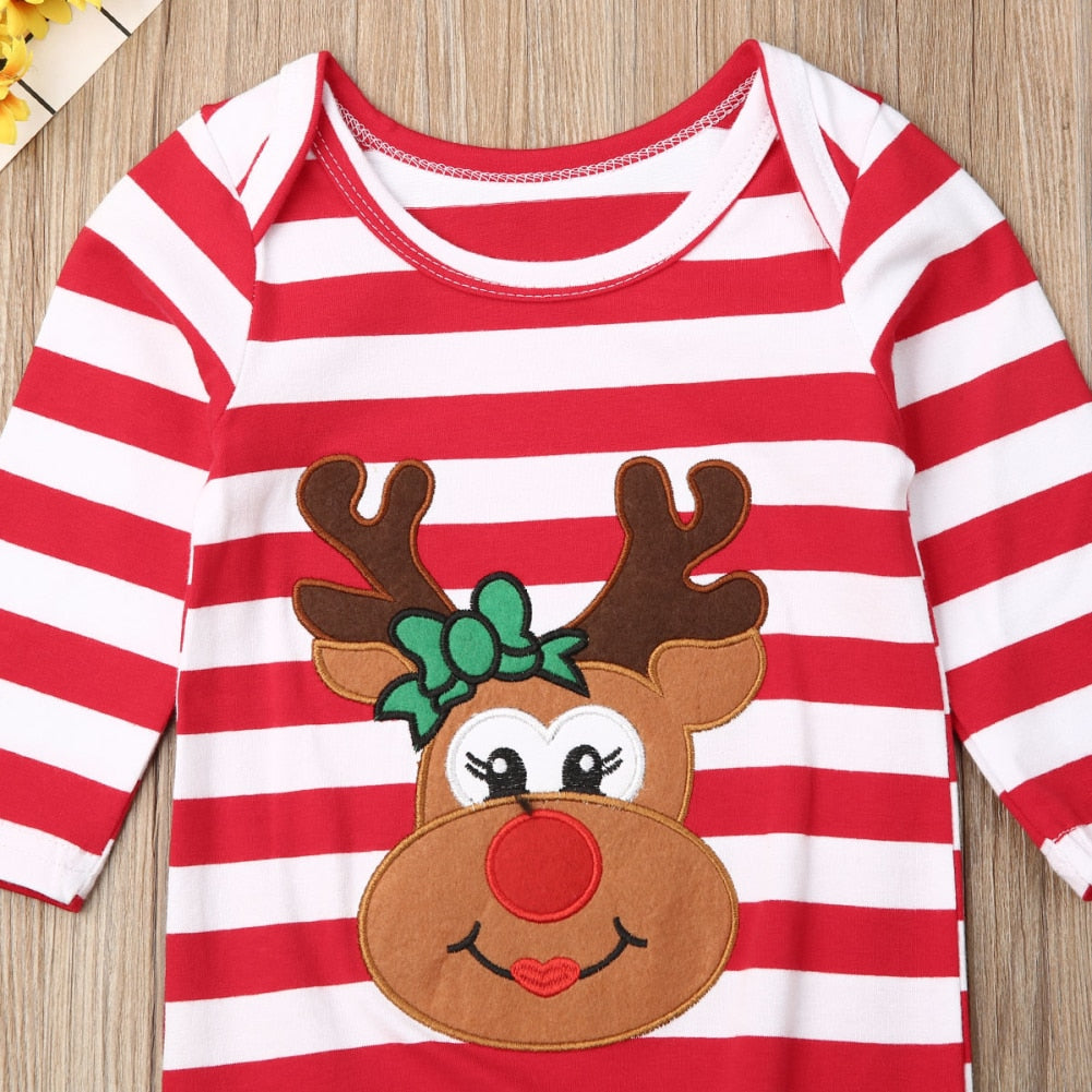 S-1986 Baby Girl Christmas Long Sleeve Romper Size 3M-18M
