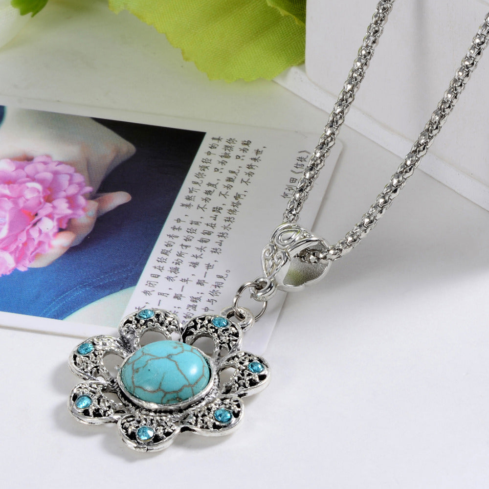 ZO-1833 Women's Turquoise  Pendants Necklace