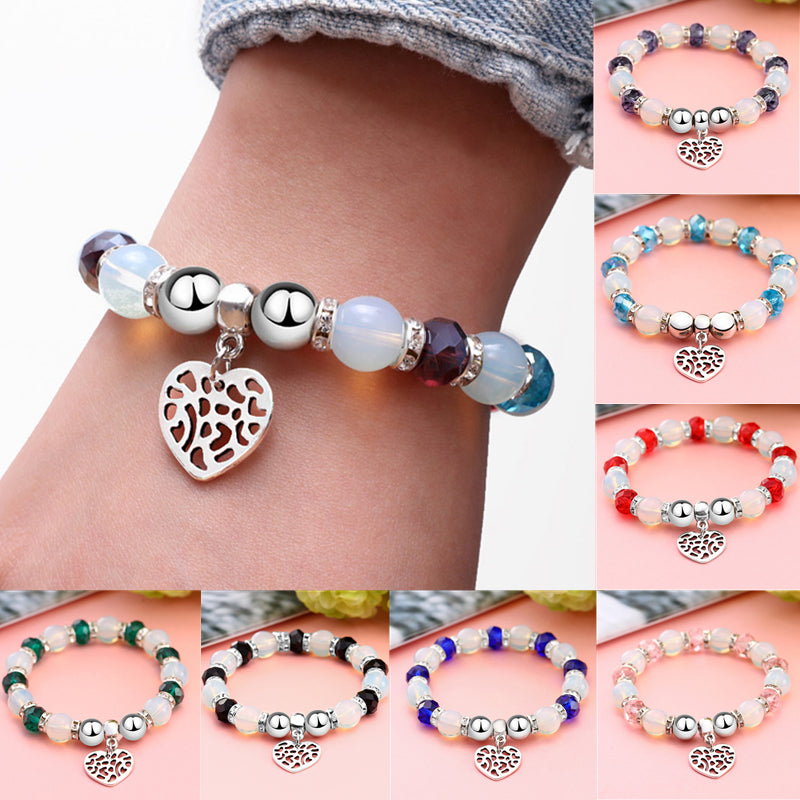ZO-1837 Crystal Beaded Bracelets with Silver Heart
