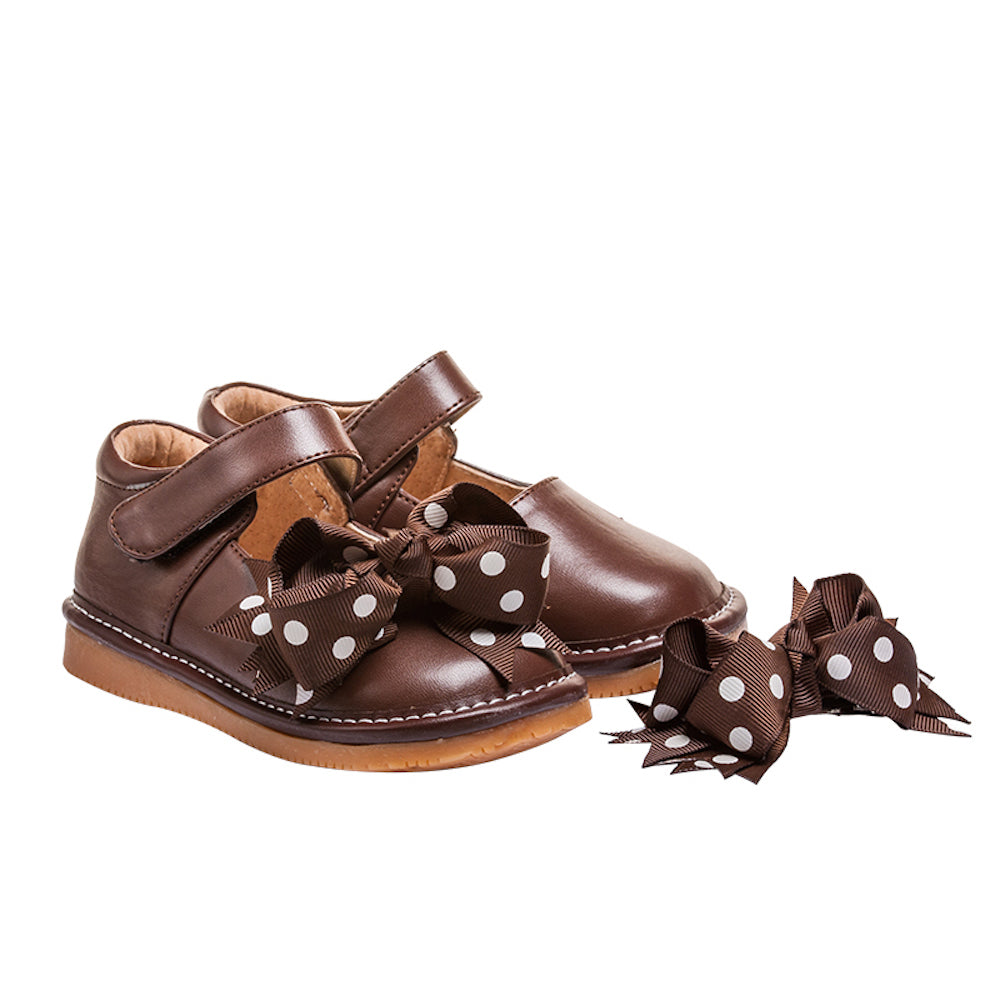 Leather Toddler Girl's Mary Jane Brown Clip on Bow Squeaky Shoes