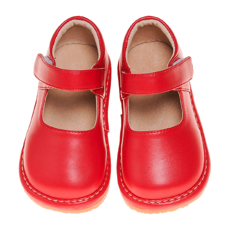 Solid Red Mary Jane Squeaky Shoes