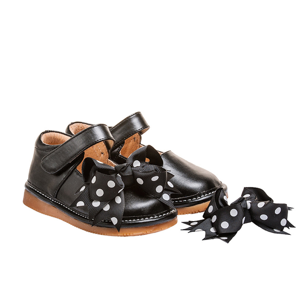 Leather Toddler Girl's Mary Jane Black Clip on Bow Squeaky Shoes