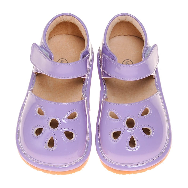 Leather Toddler Girl's Lavender Paten Petal Squeaky Shoes