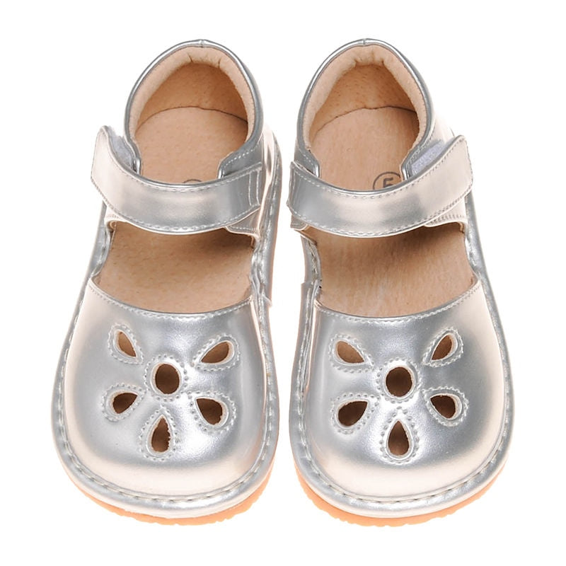 Leather Toddler Girl's Silver Paten Petal Squeaky Shoes