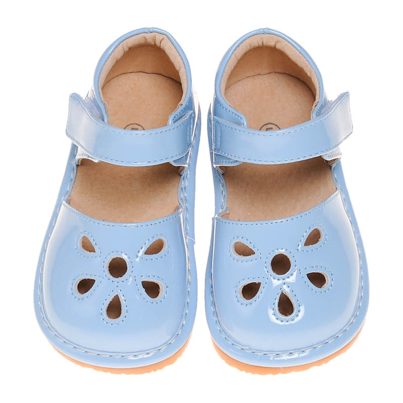 Leather Toddler Girl's Sky Blue Paten Petal Squeaky Shoes