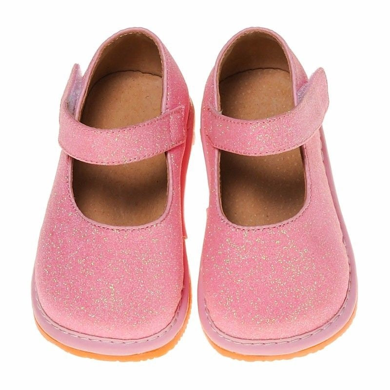 Leather Toddler Girl's Mary Jane Pink Sparkle Squeaky Shoes