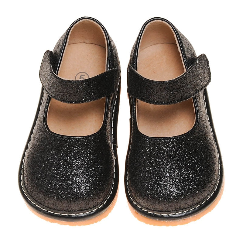 Leather Toddler Girl's Mary Jane Black Sparkle Squeaky Shoes