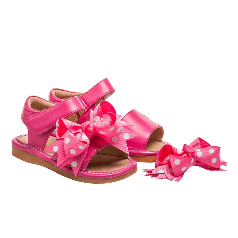 Leather Toddler Girl's Mary Jane Hot Pink Clip on Bow Squeaky Shoe Sandal