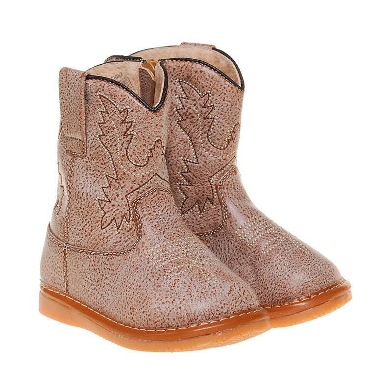 Toddler Boy's  Light Brown Cowboy  Non-Squeaky Boots Sizes 8, 9