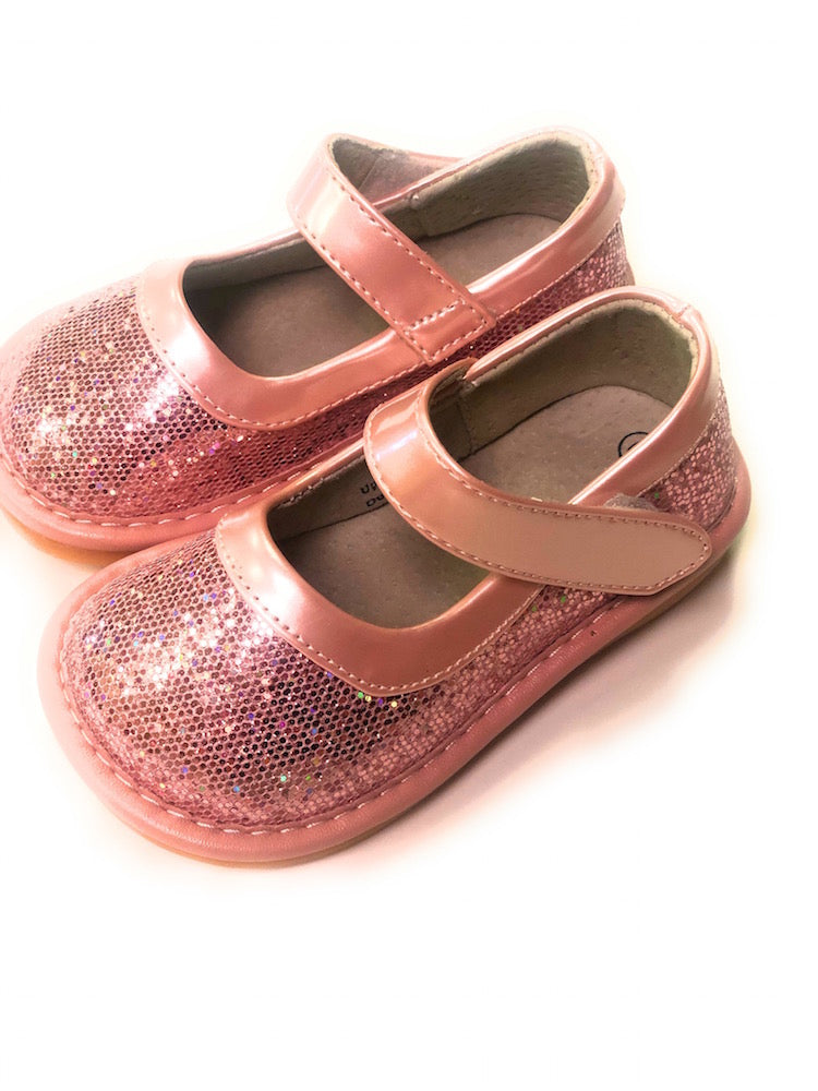 LP401P NEW! Pink Sparkle Leather Toddler Girl's Mary Jane Squeaky Shoes Size 3-10