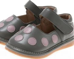 Discontinued Leather Toddler Girl's Grey with Light Pink Dots Squeaky Shoes Size 1 Only