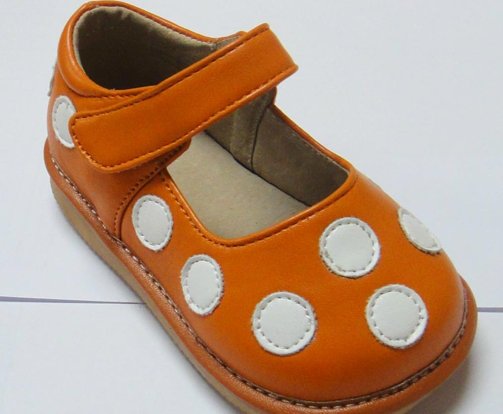Discontinued Leather Toddler Girl's Orange with White Dots Squeaky Shoes Size 2 Only