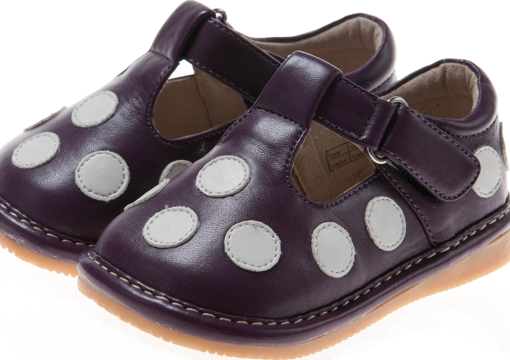 Discontinued Leather Toddler Girl's Purple with White Dots Mary Jane Squeaky Shoes