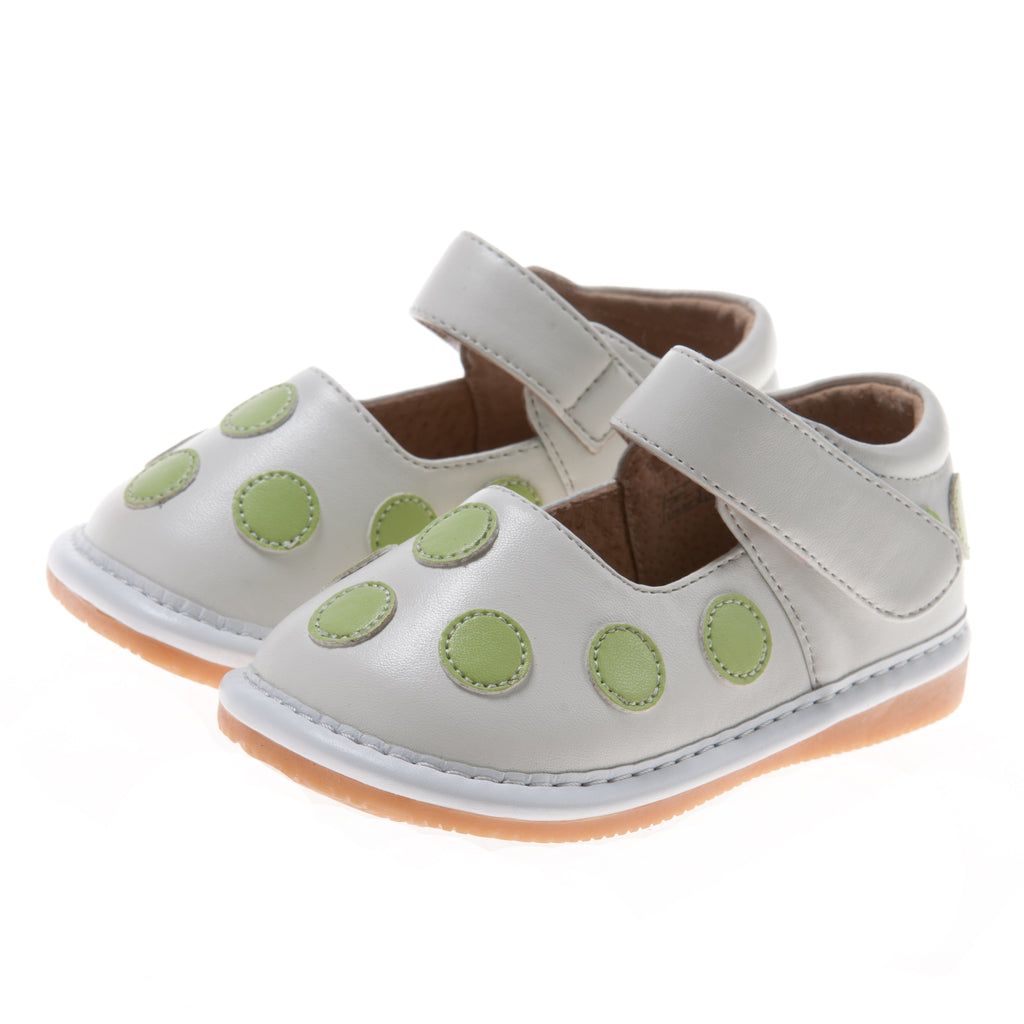 Discontinued! Size 1,2 only! Leather Toddler Girl's White with Lime Green Dots Squeaky Shoes