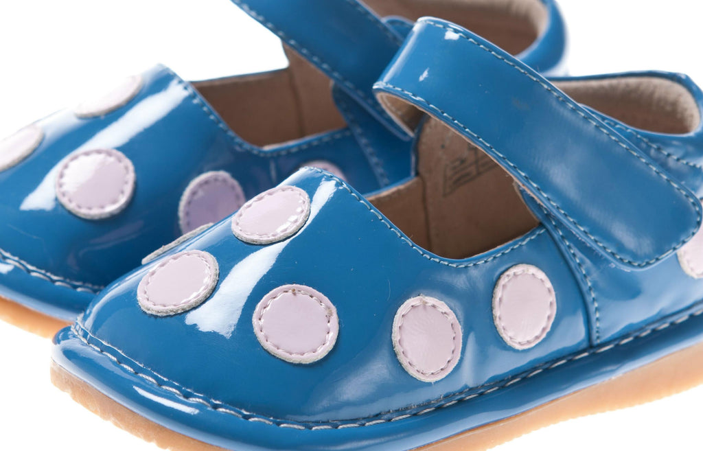 Discontinued Leather Toddler Girl's Patent Blue with Pink Dots Squeaky Shoes Size 1 Only