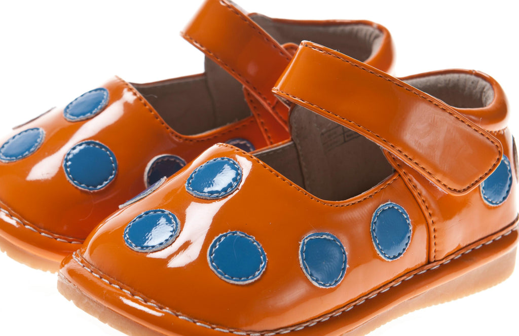 Discontinued Leather Toddler Girl's Patent Orange with Blue Dots Squeaky Shoes Size 1 ONLY