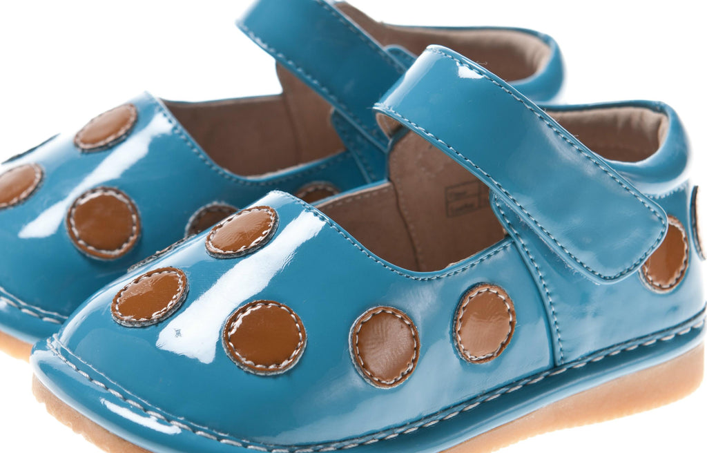 Discontinued Leather Toddler Girl's Patent Teal with Brown Dots Mary Jane Squeaky Shoes