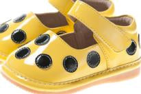 CLOSEOUT SALE! Size 1 only!  Leather Toddler Girl's Patent Yellow with Black Dot Squeaky Shoes