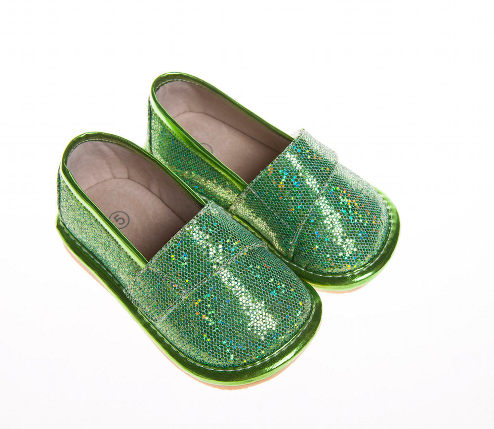 Discontinued Leather Toddler Girl's Green Sparkle Flat Squeaky Shoes