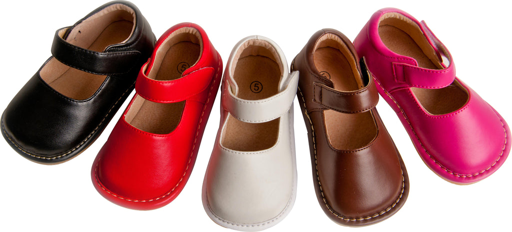 Leather Toddler Girl's Solid Red Mary Jane Squeaky Shoes