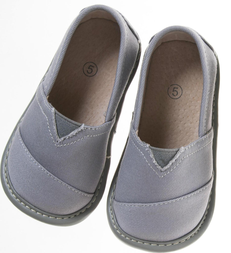 Toddler Boy's  Leather Grey Flat Canvas Tom Style Squeaky Shoes